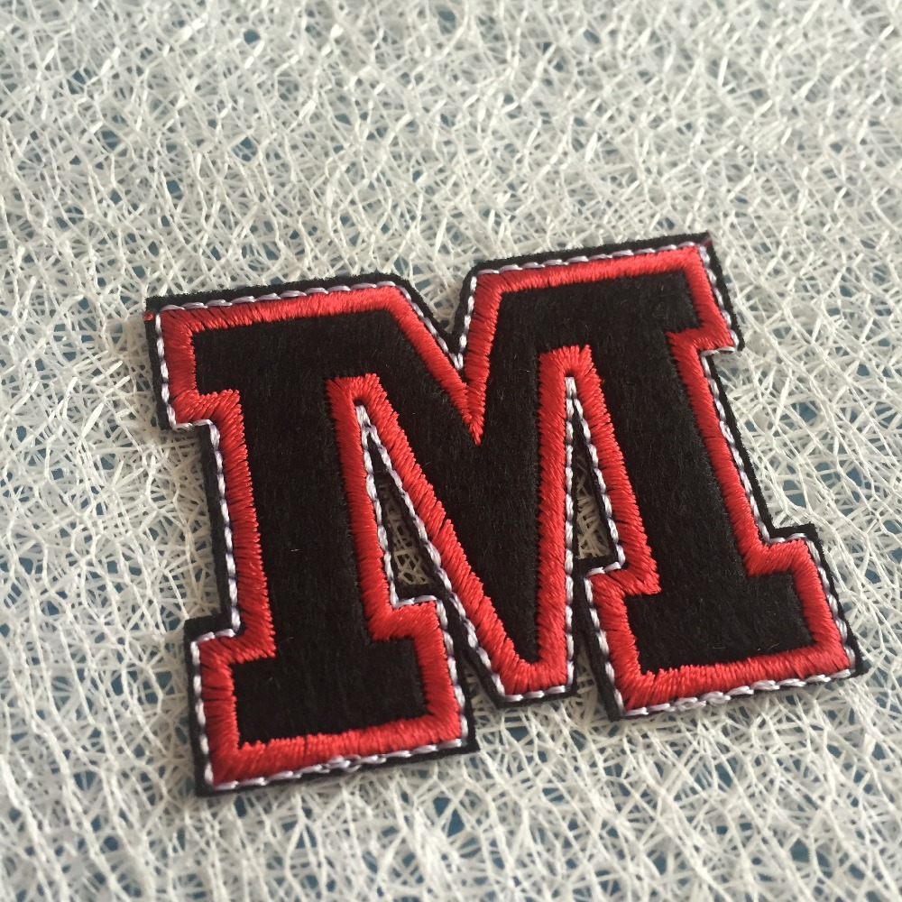 Hot Iron 10pcs Letter M Embroidered Cloth Patch Motif