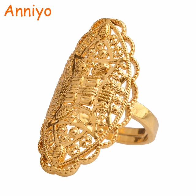 Anniyo Gold Color Arab Ring Resizable for Women/Adolescent,Dubai Wedding Jewelry