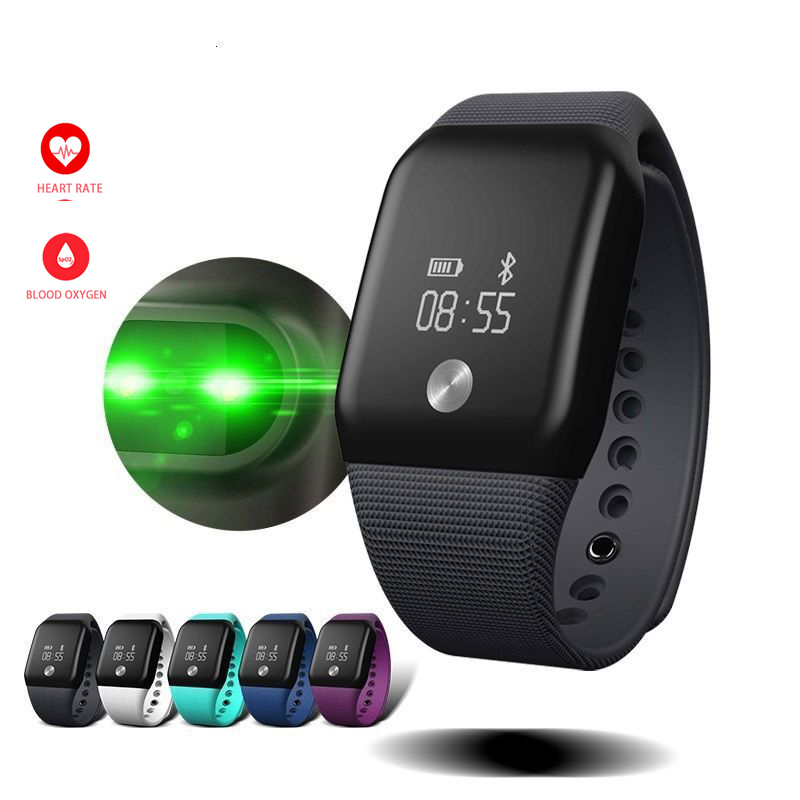 "Più nuovo A88 + Smart Wristband Heart Rate Monitor 0.66 ""Supporto Schermo OLED IP67 Impermeabile Heart Rate Monitor per Android IOS B5"