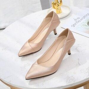 Image 3 - Maiernisi ポインテッドトゥの女性は革オフィス & キャリア女性の靴薄型ハイヒールビッグサイズ 36 45 毎日靴女性