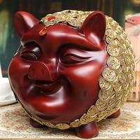Large Vintage Resin Pig Piggy Bank Baby Kid Saving Cash Coin Money Box Living Room Decoration Crafts Figurines Miniature Statue