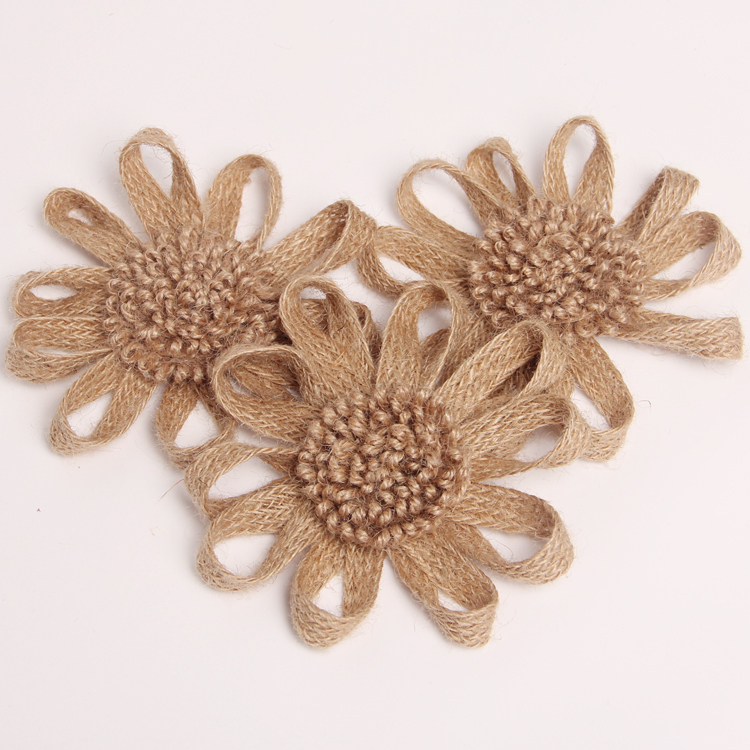 buy whoelsale burlap ribbon flower diy fabric crafts decor linen jute bride. Black Bedroom Furniture Sets. Home Design Ideas