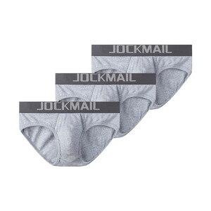 Image 1 - JOCKMAIL 3 ピース/ロットセクシーな男性下着通気性糸の綿メンズブリーフショーツ cueca ゲイ下着 calzoncillos hombre スリップ