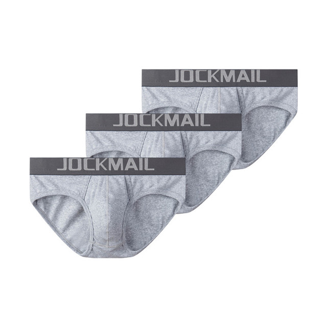 JOCKMAIL 3 ピース/ロットセクシーな男性下着通気性糸の綿メンズブリーフショーツ cueca ゲイ下着 calzoncillos hombre スリップ