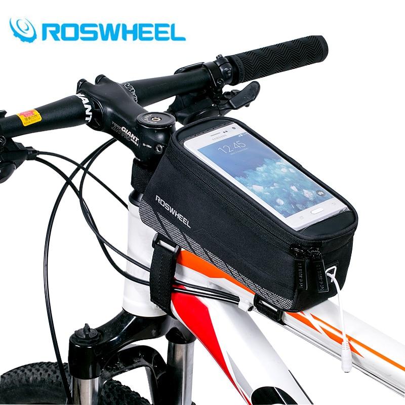 ROSWHEEL di Riciclaggio Della Bicicletta Della Bici Del Telefono Mobile Delle Cellule Sacchetto di Immagazzinaggio di Tubo Del Telaio Anteriore Gerla Cassa Del Supporto per 5.7