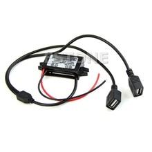цена на 2019 DC 12V to 5V 3A Dual USB Power Converter for IPHONE Car Regulator Step Down