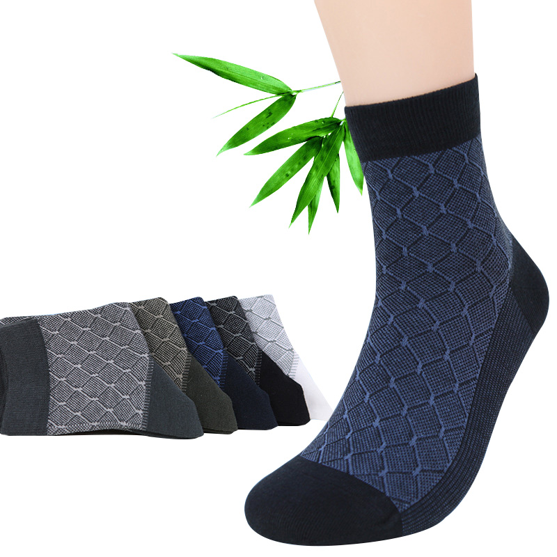 10pcs=5 pairs/lot Bamboo Fiber Man Fashion   Socks   Health Comfort Men Fashion Anti-bacterial Sox High Qualtiy Formal   Socks   Meias