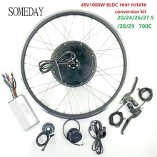 цена на SOMEDAY 48V1000W BLDC Electric Bicycle conversion kit EBIKE Rear rotate wheel hub Motor with LED900S Display