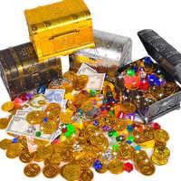 Hot Treasure Hunting Box Children Treasure Box Retro Plastic Large Box Toy Gold Coins and Pirate Gems Jewelry Playset Pack