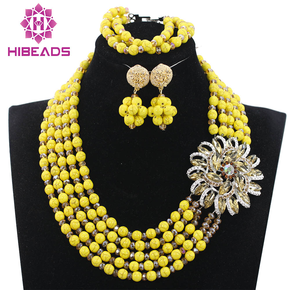 Fashion Beads Chunky Jewelry Sets Flower Brooch Party Bead Necklace Set 5 Colors Free Shipping QW941