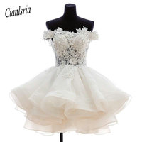Lovely Short Homecoming Dresses Sweetheart Flowers Organza Graduation Dresse Party Prom Formal Gown