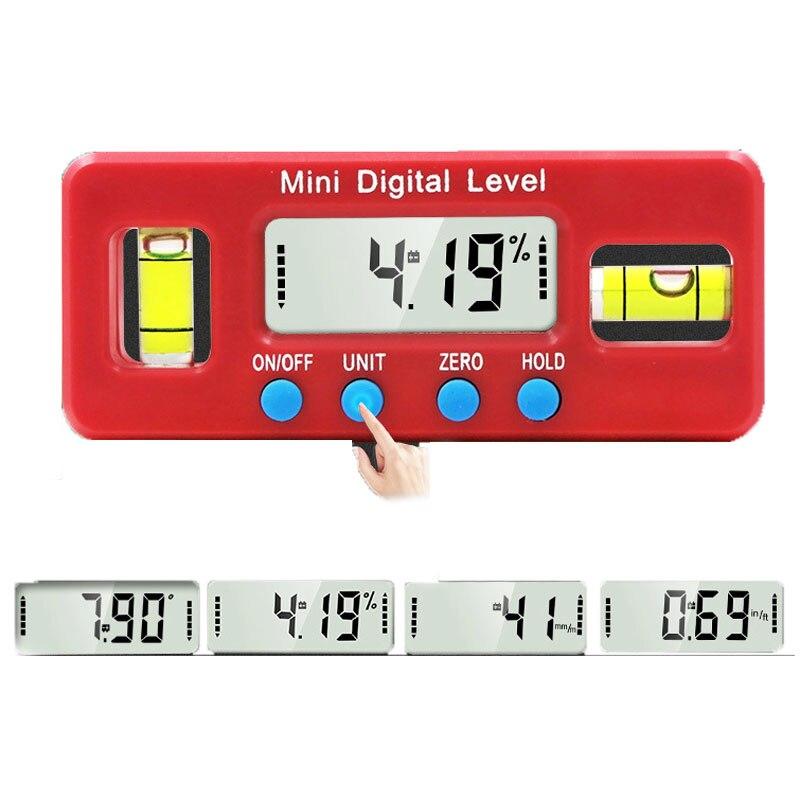 Mini digital transferidor inclinômetro nível à prova de água caixa de nível digital ângulo finder nível digital inclinômetro ângulo de medição