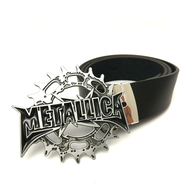 a05cdfb6d08 American heavy metal band metallica belts for men high quality Black Pu  leather belt men big buckle belt with metal clip