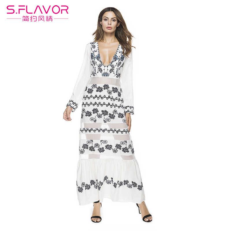 S. טעם אביב נשים אלגנטי הולו מתוך הדפסת שמלה סקסית חוף ארוך שמלת הבוהמי V צוואר שיפון טלאים Vestidos