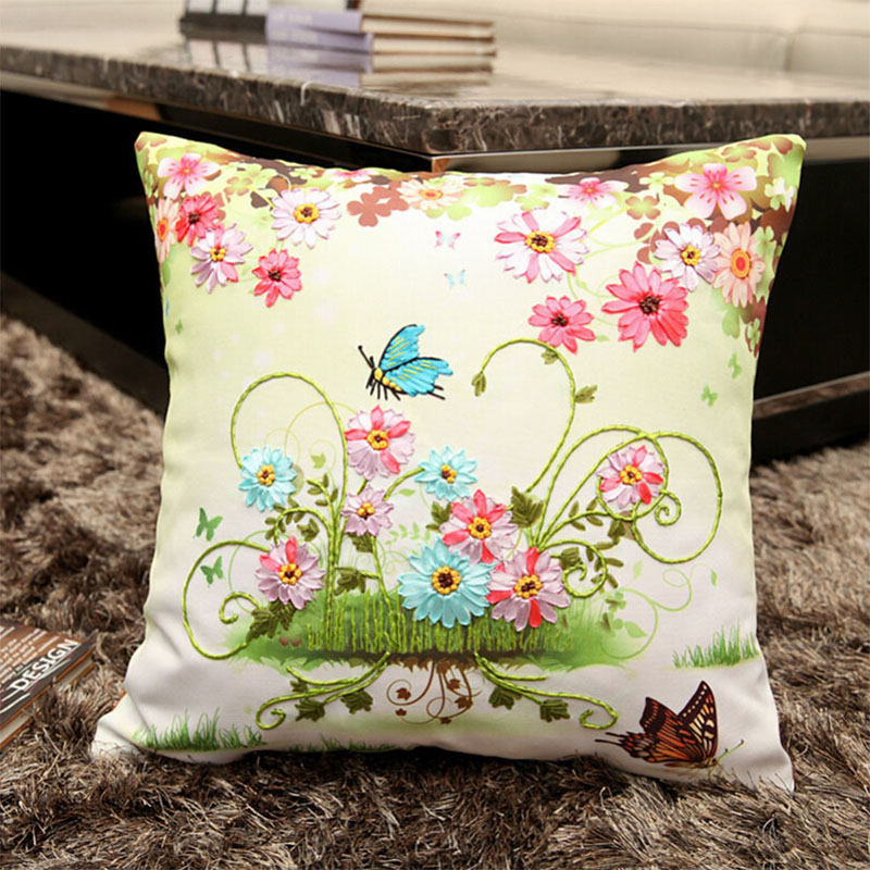 Ribbon embroidery kit toolkit cushion covers pillow cover