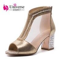 Univers D'or Argent Bling Design De Mode Femmes de Haute 7 cm Talons Carrés Pompes D'été de Soirée De Mariage stiletto chaussures H052