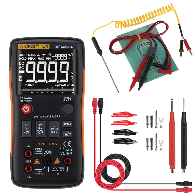 Q1 True RMS Digital Multimeter Button 9999 Counts Analog Bar Graph AC DC Tester