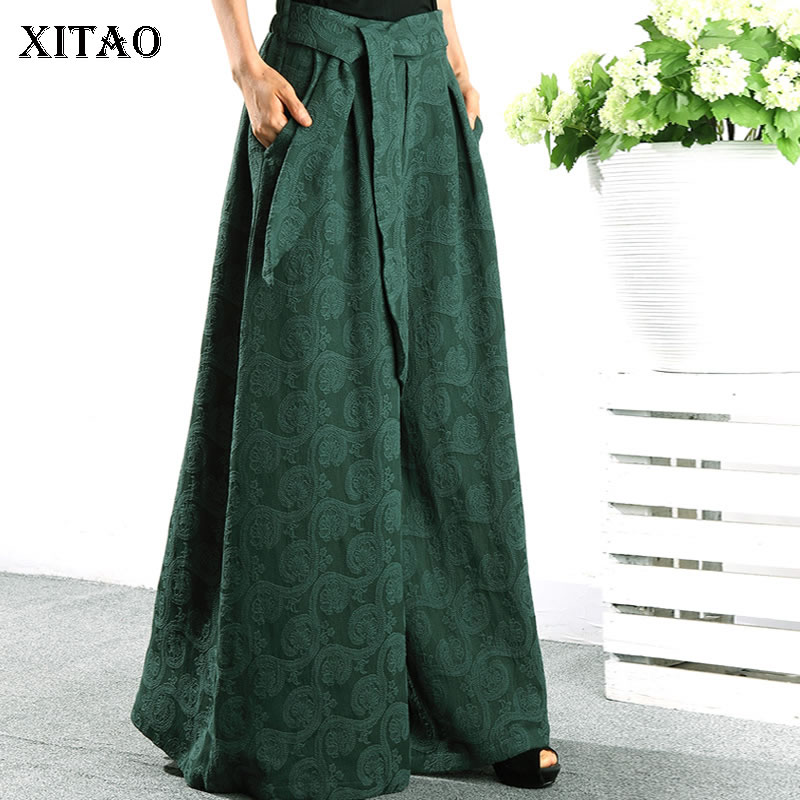 [XITAO] Spring Summer 2019 Women New Arrival Casual Loose Fashion Elastic Waist Solid Color Match All   Wide     Leg     Pants   WBB3110