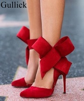 Big Size 13 Big Bow Knot High Heel Pumps Pointed Toe Cut Out Thin Heel Sandals