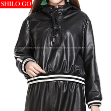 SHILO GO NEW Fashion Street Women Hooded metal Pleated loose Casual Sheepskin Genuine Leather Short Pullover Baseball Jacket