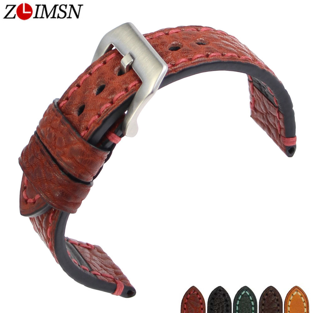 ZLIMSN New Men Genuine Leather Watchband Accessories Wristbands 20mm 22mm 24mm 26mm Watch Band Strap Suitable for Panerai Watch zlimsn genuine leather watchband bracelet 24mm 22mm 20mm thick watch strap belt with clasp wristwatch accessories band