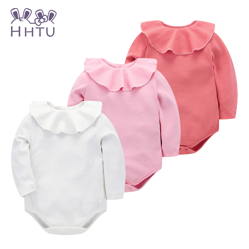 HHTU Baby Clothes Falbala Package Fart Clothing Long Sleeve Newborn Rompers Girls Boys Jumpsuit Children Cotton Autumn Roupas hhtu brand baby rompers boys girls clothing quilted long sleeve jumpsuits newborn clothes boneless sewing children cotton winter