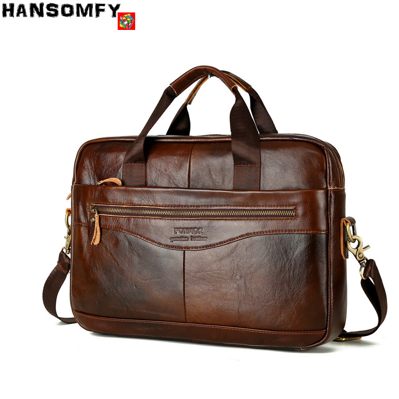 2018 Business men briefcase brand Genuine Leather cross-section Handbags large capacity 14