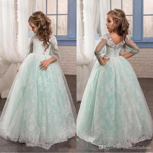 Us 119 99 Cheap Flower Girls Dresses For Weddings Mint Green Illusion Long Sleeves Tulle Lace Skirts Lovely Girls Pageant Gowns Xf19 In Flower Girl