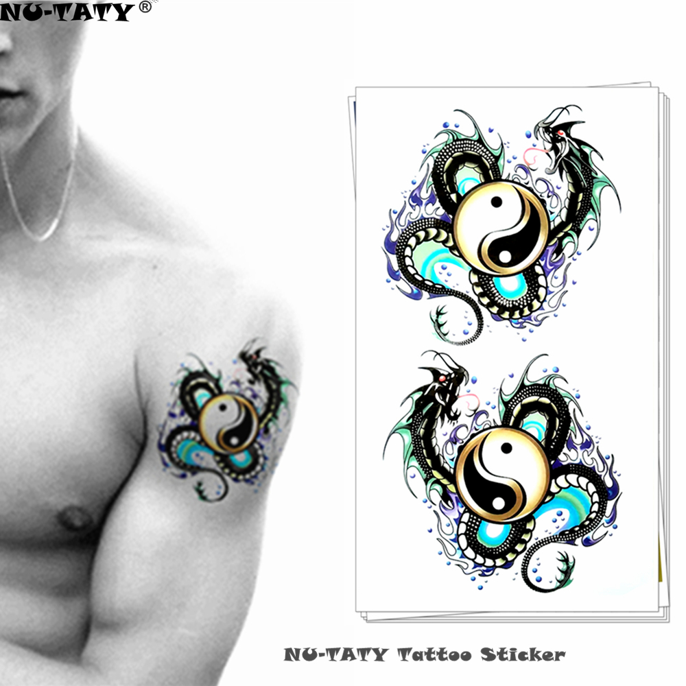 Nu-TATY Yin Yang Taichi Dragon Temporary Tattoo Body Art Flash Tattoo Stickers 17*10cm Waterproof Fake Tatoo Styling Sticker super bowl ring 2019