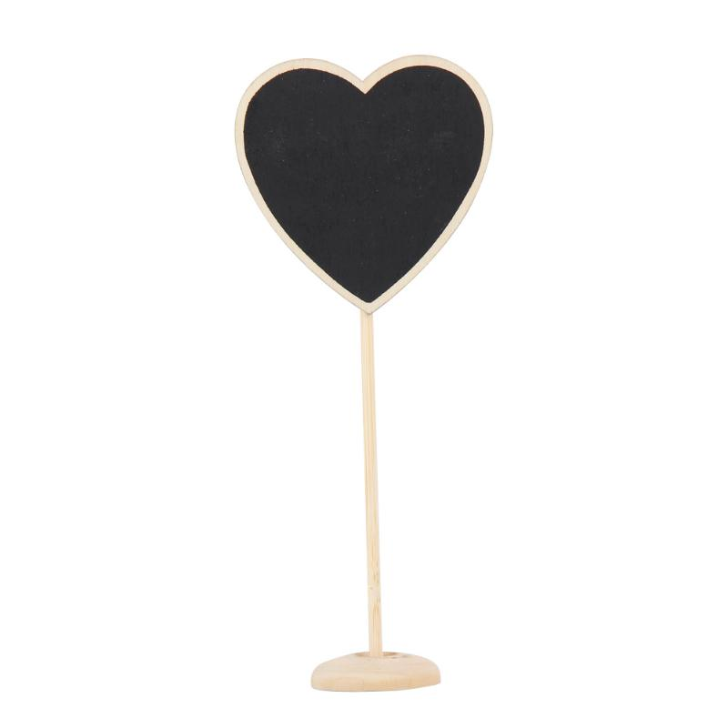 10Pcs Heart Shaped Mini Wooden Blackboard Stand Wedding Lolly Party Tag Wood Black Board Chalkboard for Party Office School 10pcs mini retangle wood blackboard stand wedding party wooden tag black board chalkboard party office school supplies
