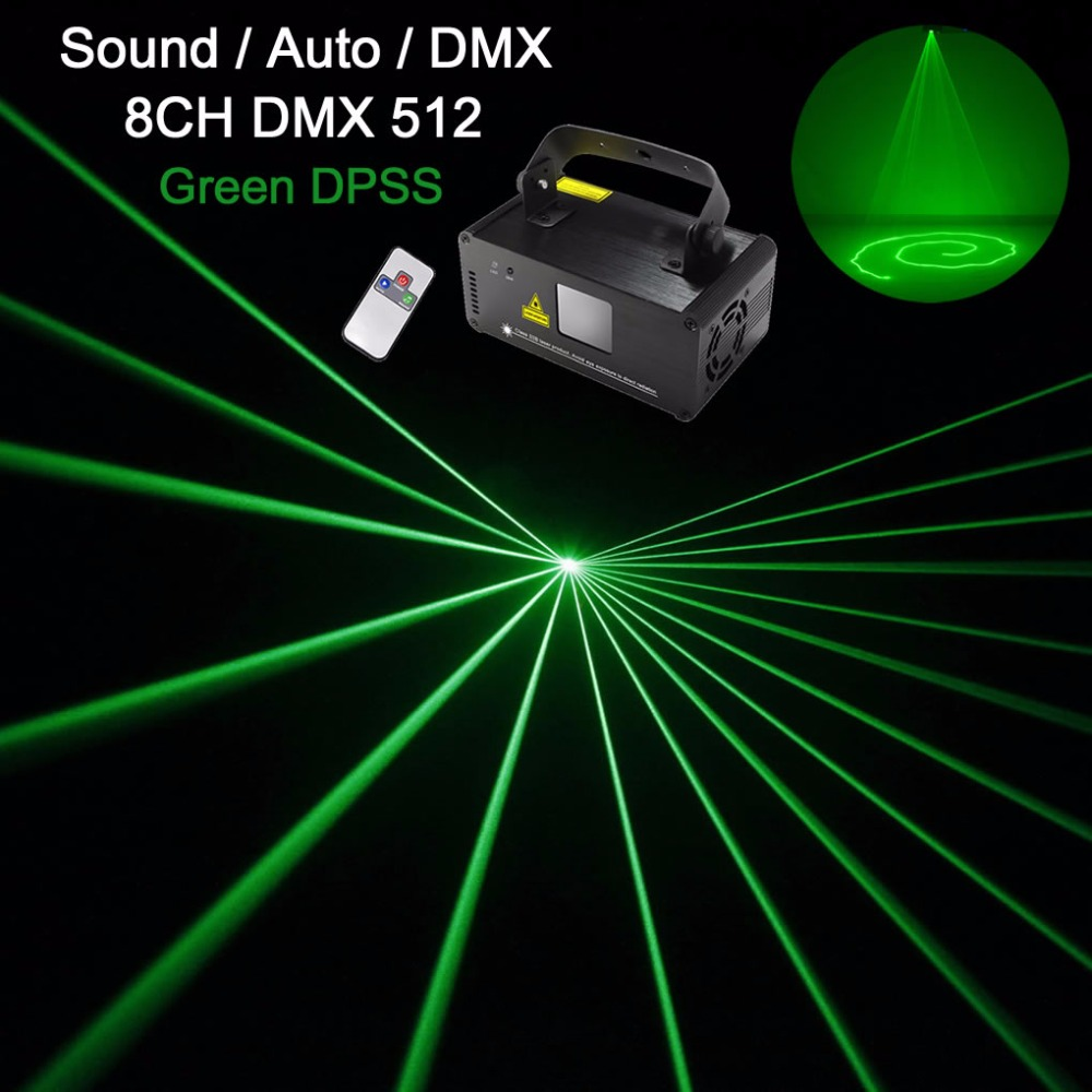 AUCD Mini DMX 512 IR Remote 50mW Green Beam Laser DPSS Lights Scanner PRO DJ Disco Party Stage Projector Show Lighting DM-G50 ...