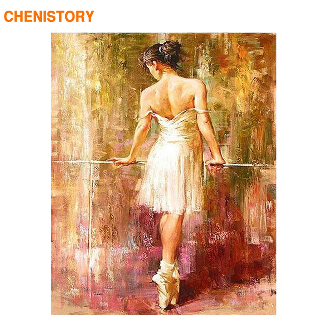 CHENISTORY Ballet Dancer DIY Dgital Painting By Numbers Abstract Kits Painting By Numbers With Inner Frame Paint By Yourselve