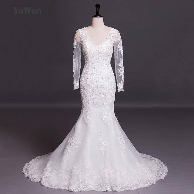 beb3966a214e9 V-neck beach long sleeves mermaid wedding dress 2018 lace high quality plus  size vestidos de noiva sexy african wedding gowns