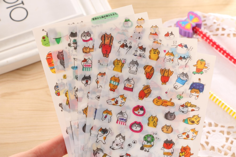 Free ship!1lot=20set(120pc)! Cute cat DIY PVC phone mobile <font><b>sticker</b></font> /cartoon diary decorative stationery <font><b>stickers</b></font> image
