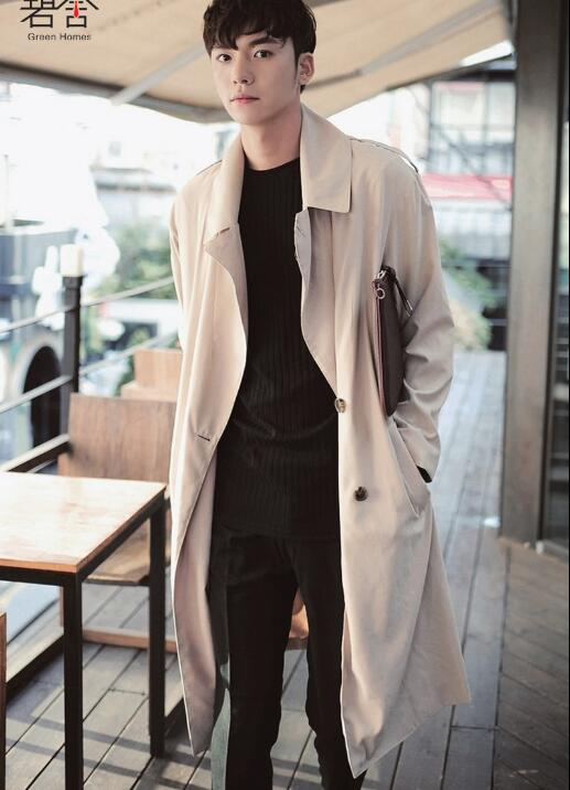 2017 The new design style has a long dust coat big yards men's Han edition loose men's trench coat lapelsThe singer's clothing the fall of 2015 to launch new products design high quality loose big yards the cowboy cotton women s nine minutes of pants