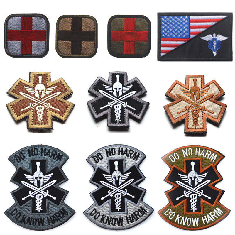 3d Spartan Medic Tactical Embroidered Military Emt Morale Badge Apparel Sewing & Fabric
