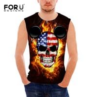 FORUDESIGNS 2017 Summer Mens Casual Clothing Fitness Tank Top For Men Skull Fire Printing Bodybuilding Vests