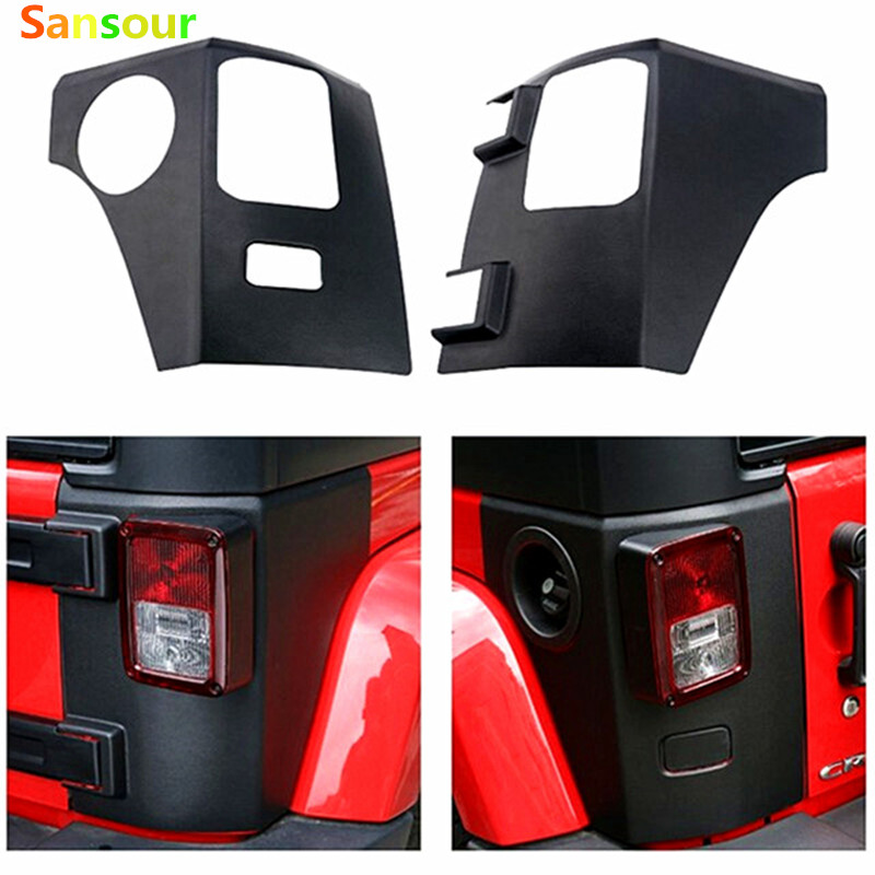 Sansour ABS Black Body Armor Rear Corner Guard Taillight Protector Cover For Jeep Wrangler high quality stainless steel black light guard rear taillights cover for 07 17 jeep wrangler jk 2 door