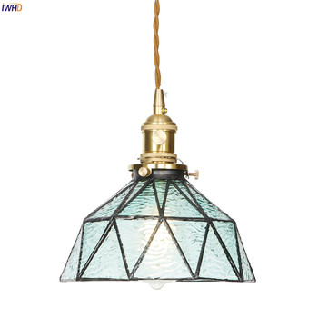 IWHD Blue Glass LED Pendant Lights With Switch Creative Copper Nordic Hanging Lamp Vintage Industrial Lamp Home Lighting