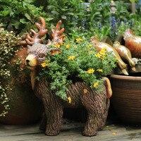 Animal flowerpot elk Large creative Rural personality Garden decoration Outdoor patio villa garden garden pots plant pots
