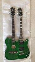 Оптовая продажа гитара двойной шеи 6 строка акустической + 6 строка Электрогитары Одежда высшего качества в зеленый взрыв 170315
