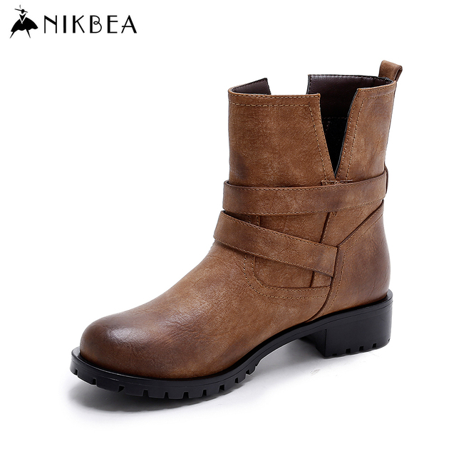 aliexpress buy nikbea buckle boots flat high