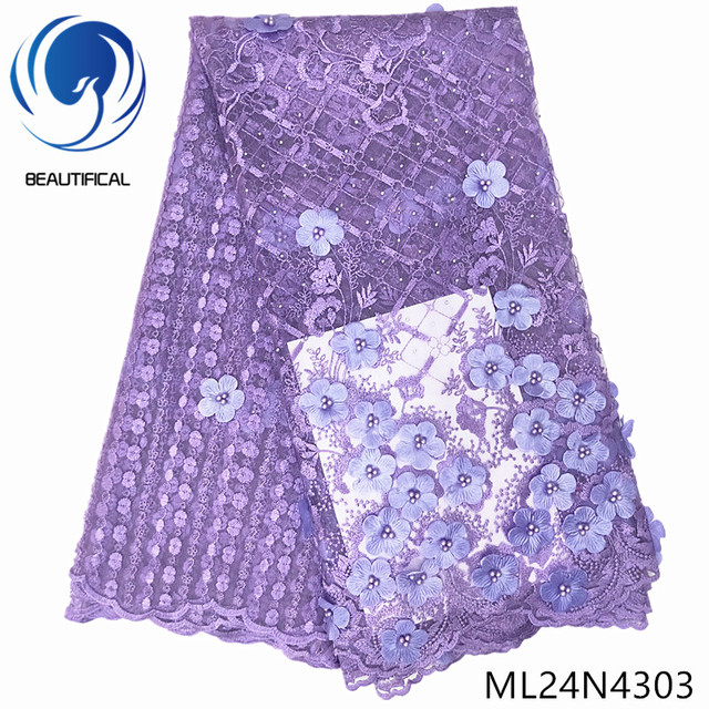 BEAUTIFICAL purple flower 3d african french lace fabrics beads nigerian wedding laces tulle fabric ML24N43