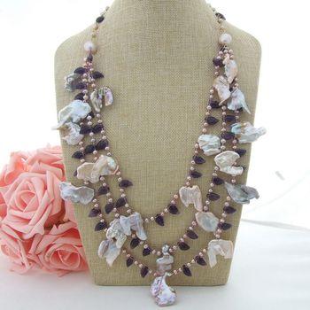 """N022938 26"""" 3 Strands Purple Keshi Pearl Purple Crystal Necklace"""