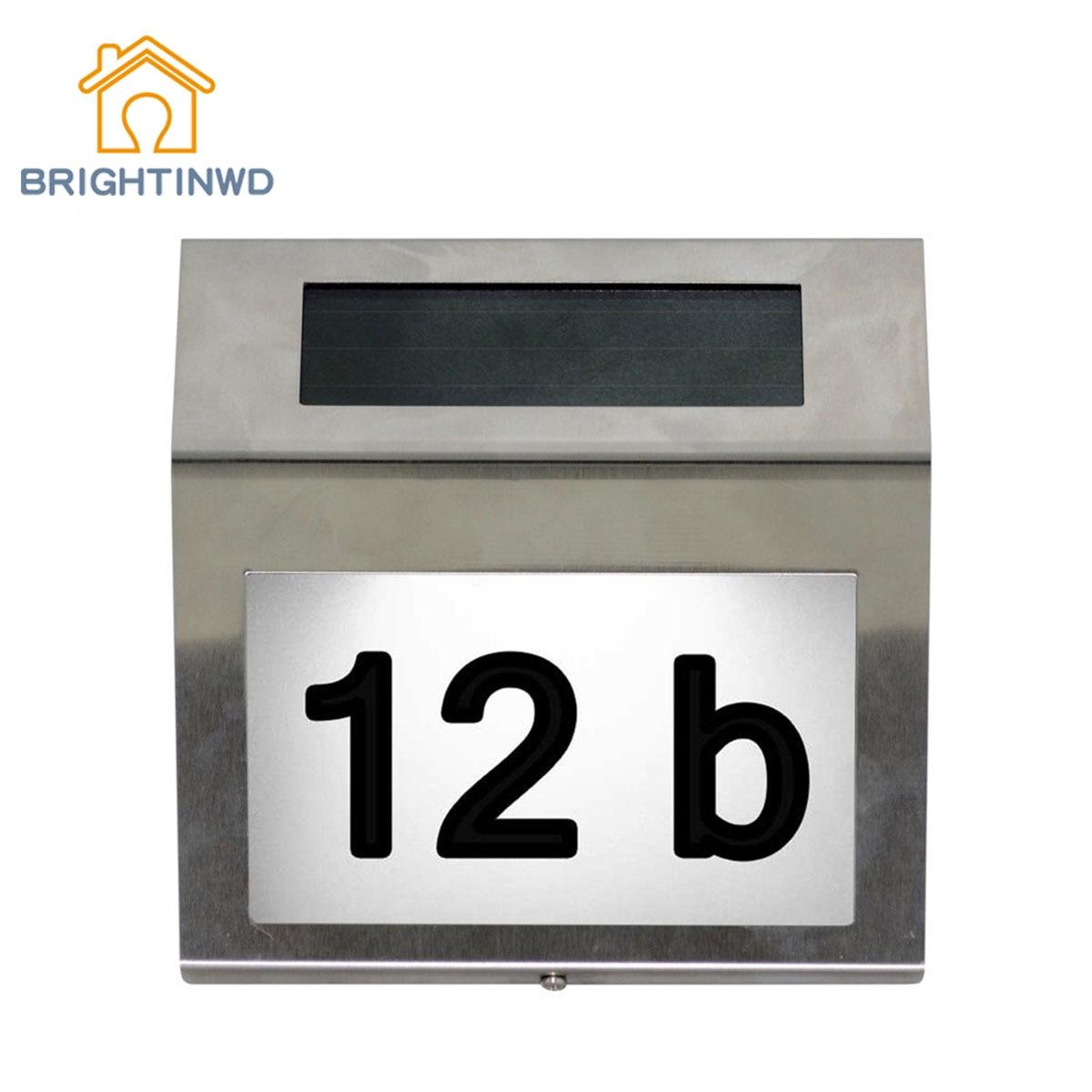 BRIGHTINWD Doorplate Solar Lamp Waterproof IP65 Led solar light of Outdoor House Number Solar Apartment Number Light Led Solar