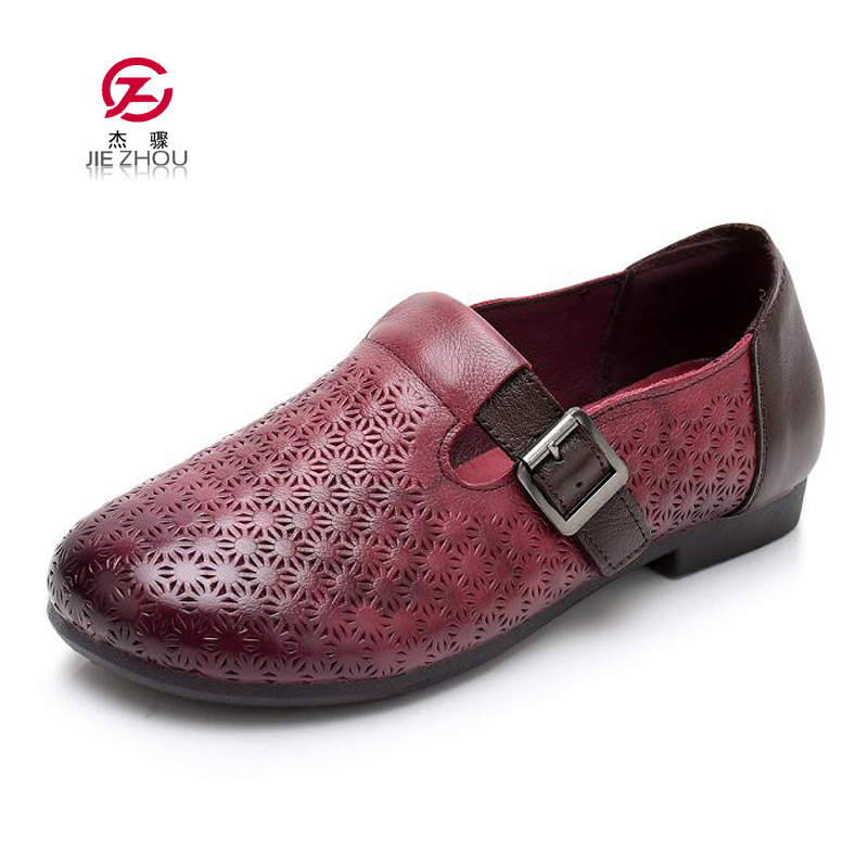 Autumn New Vintage handmade shoes Loafers Genuine Leather Flats Women Shoes Shallow mouth Casual shoes Fashion