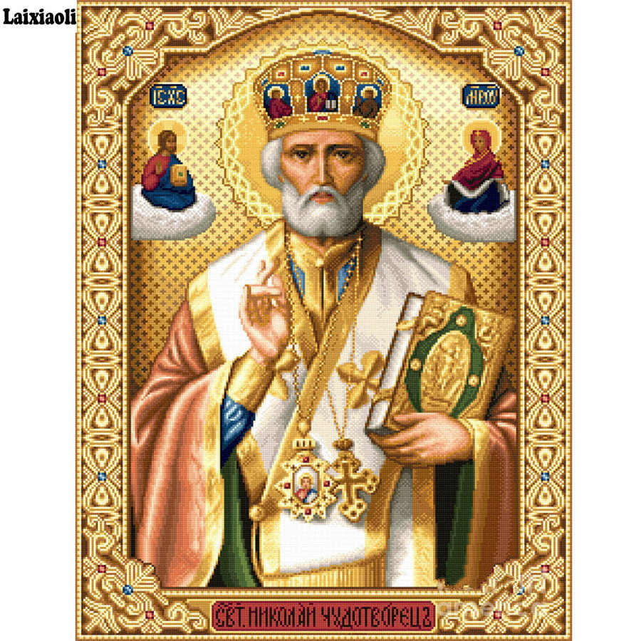 5D Crystal Crafts Diamond Painting Mosaic Icons St. Nicholas Of Myra 3D Square diy Diamond Embroidery Pattern Orthodox Religion
