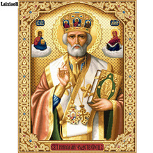 5D Crystal Crafts Diamond Painting Mosaic Icons St. Nicholas Of Myra 3D Square diy Embroidery Pattern Orthodox Religion