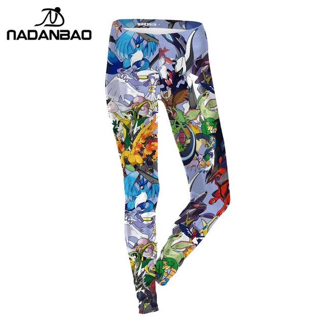 NADANBAO Summer Women Legging Cartoon Pokemon GO Pikachu Print Leggings Blue Legins Sexy Slim Leggins Fashion Women Pants
