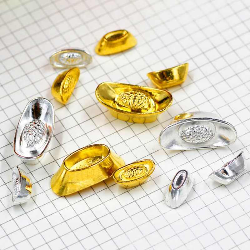 2/4 Buah Kerajinan Logam Mascot Feng Shui Menguntungkan Keberuntungan Uang Emas Sliver Dekorasi Ingot Dekorasi